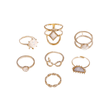 Rhinestone Geometric Shape Rings Set - GOLD ONE-SIZE