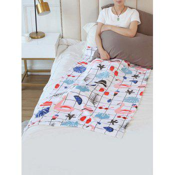 Flamingo Plaid Starfish Pattern Flannel Soft Bed Blanket - multicolor W59 INCH * L79 INCH