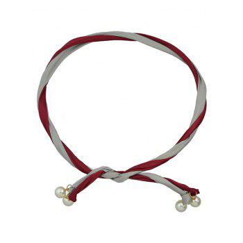 Color Block Hairband With Faux Pearl - RED WINE