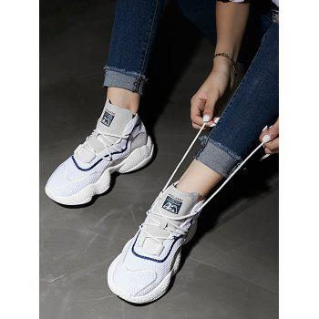 High Top Color Block Breathable Athletic Gym Shoes - WHITE 38