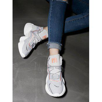High Top Color Block Breathable Athletic Gym Shoes - GRAY 38
