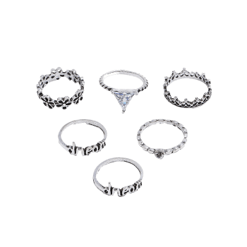 Plum Flower Letters Printed Rings Set - SILVER ONE-SIZE