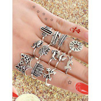 Animal Pattern Alloy Rings Set - SILVER ONE-SIZE