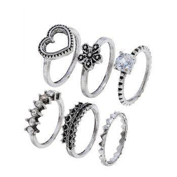 Heart Shape Flower Rhinestone Decoration Rings Set - SILVER ONE-SIZE