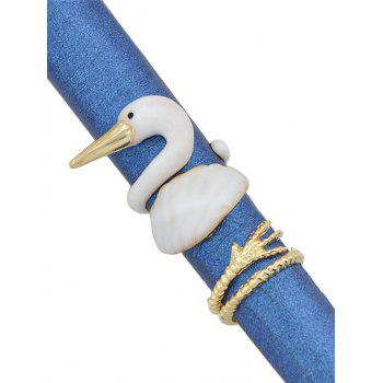 Swan Pattern Rings Set - GOLD ONE-SIZE