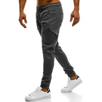 Elastic Cuffed Solid Color Cargo Pants - BLUE GRAY XL