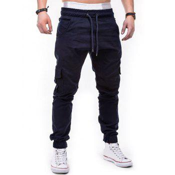 Drawstring Pockets Design Casual Cargo Pants - CADETBLUE M