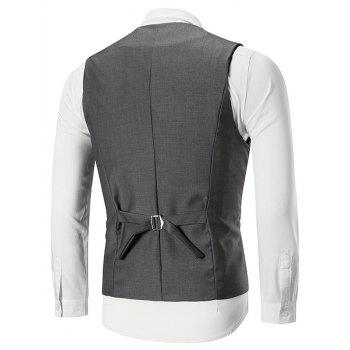 Belt Design Double Breasted Slim Fit Waistcoat - GRAY 2XL