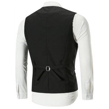 Belt Design Double Breasted Slim Fit Waistcoat - BLACK XL