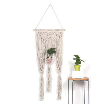 Hand-knitted Macrame Plant Hanger Wall Decor - WARM WHITE 135*45CM