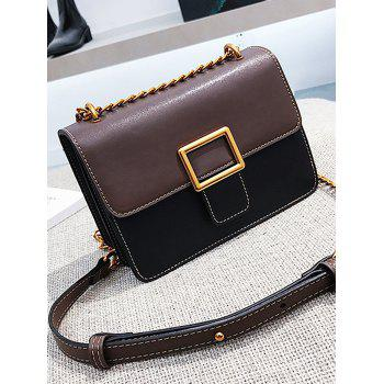 Contrasting Color Stitching Flapped Chain Crossbody Bag - BLACK HORIZONTAL