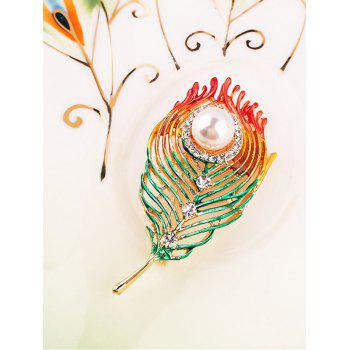 Stylish Rhinestone Faux Pearl Feather Brooch - multicolor