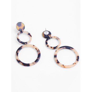 Pair of Round Acrylic Drop Earrings - LEOPARD