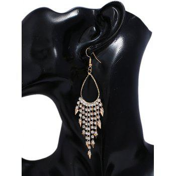 Shiny Rhinestone Alloy Triangle Fringed Hook Earrings - GOLD
