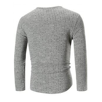 Solid Color Texture Splicing Long Sleeve T-shirt - LIGHT GRAY 3XL