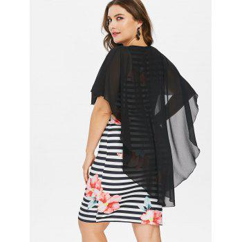 Plus Size Knee Length Mesh Popover Dress - BLACK L
