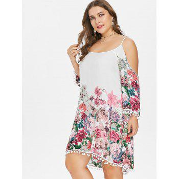 Plus Size Cold Shoulder Flower Dress - WHITE 2X