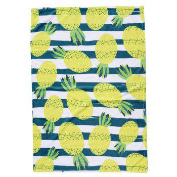 Pineapple Pattern Flannel Soft Bed Blanket - multicolor W51 INCH*L59 INCH