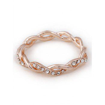 Rhinestone Decoration Twist Ring - ROSE GOLD 7