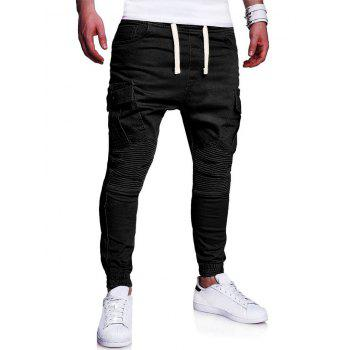 Pleats Design Elastic Cuffed Drawstring Cargo Pants - BLACK L