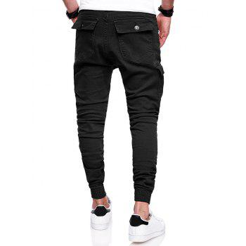 Pleats Design Elastic Cuffed Drawstring Cargo Pants - BLACK 2XL