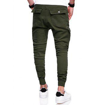 Pleats Design Elastic Cuffed Drawstring Cargo Pants - ARMY GREEN XL