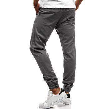 Button Decor Elastic Cuffed Drawstring Casual Jogger Pants - BLUE GRAY 2XL