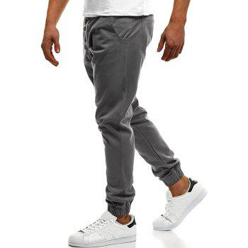 Button Decor Elastic Cuffed Drawstring Casual Jogger Pants - BLUE GRAY L