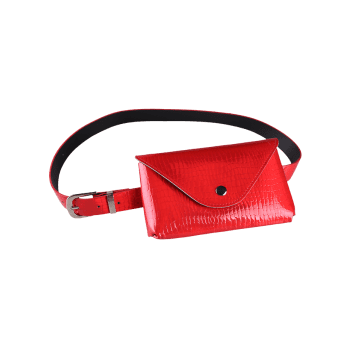 Unique Funny Bag Artificial Leather Belt Bag - RED