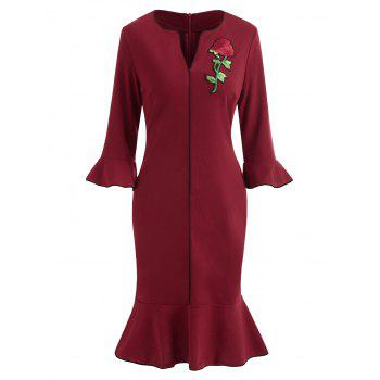 Embroidered Fishtail Dress - RED WINE S