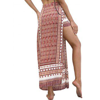 High Waist Bohemian Slit Skirt - multicolor M