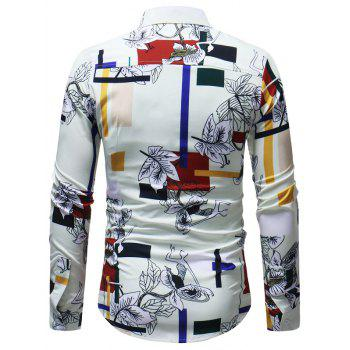 Rectangle Floral Printed Button Up Shirt - multicolor S