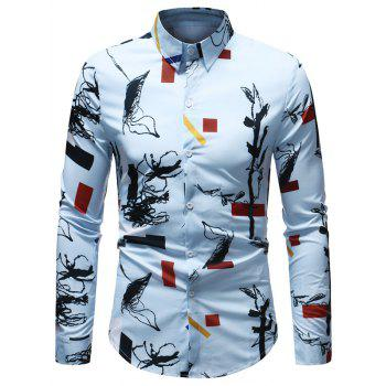 Casual Geometrical Ink Painting Print Shirt - multicolor M