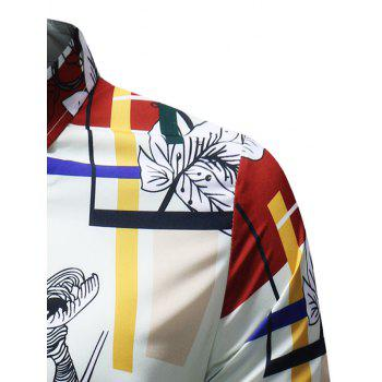 Rectangle Floral Printed Button Up Shirt - multicolor M