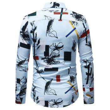 Casual Geometrical Ink Painting Print Shirt - multicolor S