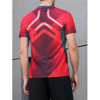 Geometric Print Splicing Sleeves Quick Dry Sports T-shirt - RED 2XL