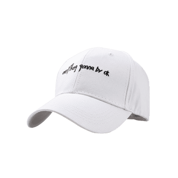Fun Letter Sentence Embroidery Sunscreen Hat - WHITE