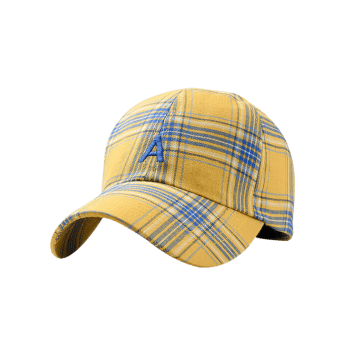 Letter A Embroidery Plaid Trucker Hat - HARVEST YELLOW