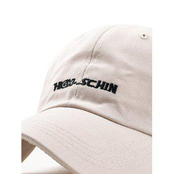 Stylish Letter Embroidery Breathable Trucker Hat - BEIGE