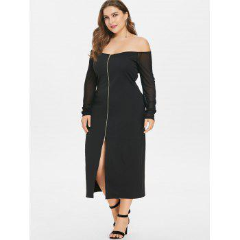 Plus Size Front Split Off The Shoulder Dress - BLACK L