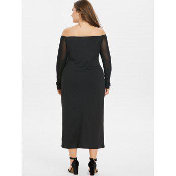 Plus Size Front Split Off The Shoulder Dress - BLACK 2X