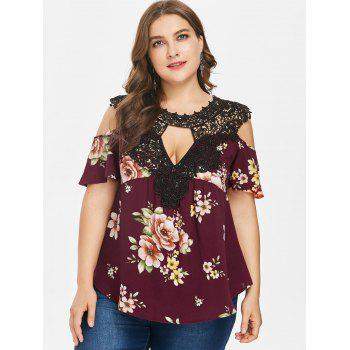 Plus Size Floral Flare Sleeve Blouse - RED WINE 2X
