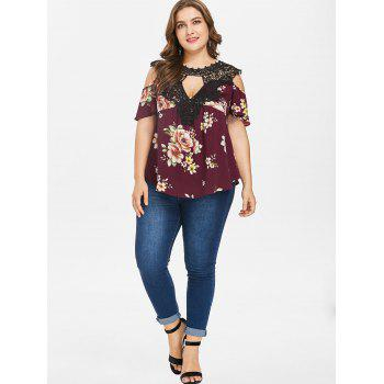 Plus Size Floral Flare Sleeve Blouse - RED WINE 1X