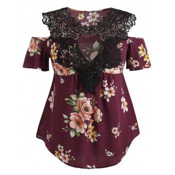 Plus Size Floral Flare Sleeve Blouse - RED WINE 3X