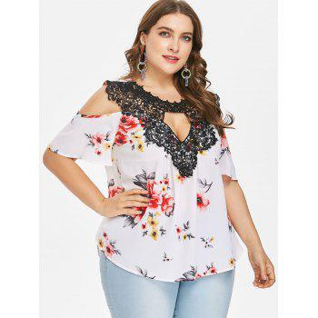 Plus Size Floral Flare Sleeve Blouse - MILK WHITE L