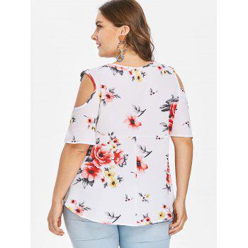 Plus Size Floral Flare Sleeve Blouse - MILK WHITE 4X