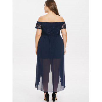 Plus Size Lace Insert Off The Shoulder Dress - MIDNIGHT BLUE 2X