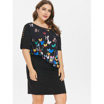 Plus Size Ladder Cutout Butterfly Pattern Dress - BLACK 5X
