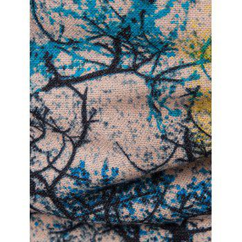 Button Up Tree Ink Painting Printed Shirt - BLUE L