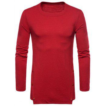 Casual Irregular Hem T-shirt with Buttons - RED L